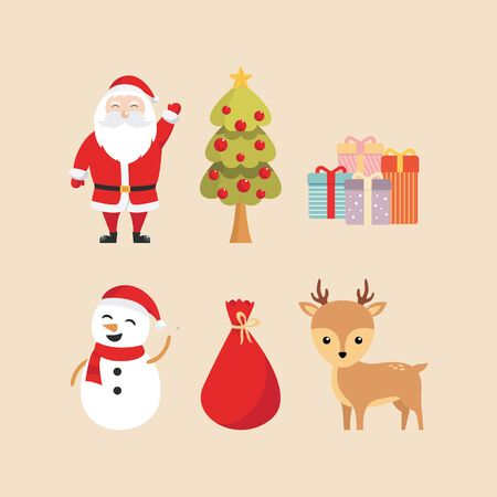 Santa claus, christmas tree, gifts, snowman, sack, and reindeer illustration 写真素材 - 132368626