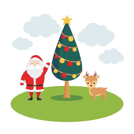 Christmas illustration with santa claus, christmas tree and reindeer