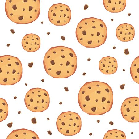 Seamless pattern with cookies on the white background