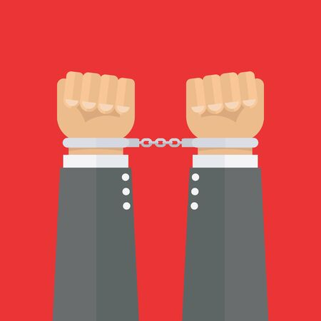 Handcuffed hands vector illustration flat style Иллюстрация