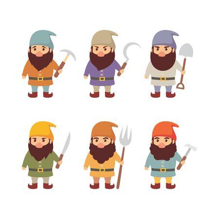 Set of dwarf vector illustration 写真素材 - 130848550