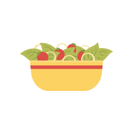 Vector illustration of fresh salad in the yellow bowl with fresh ingredients isolated on white background Stock Illustratie