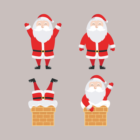 Set of santa claus vector illustration