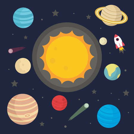 Solar system and planets vector in flat style  isolated on dark background