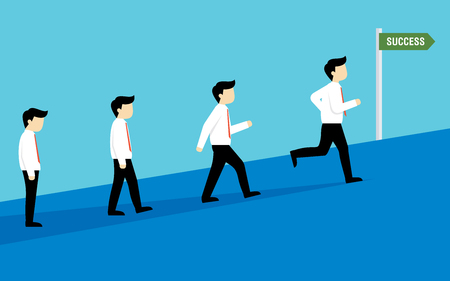 Illustration of someone walking then running towards his success vector in flat style