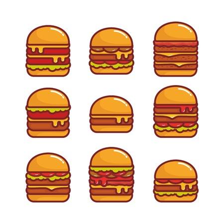 Set of burger vector illustration isolated on white background Stock Illustratie