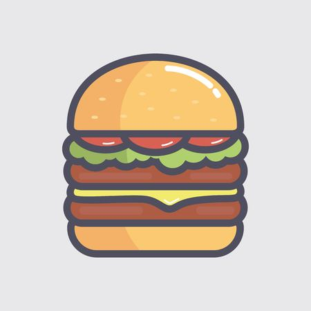 Burger vector illustration isolated on gray background