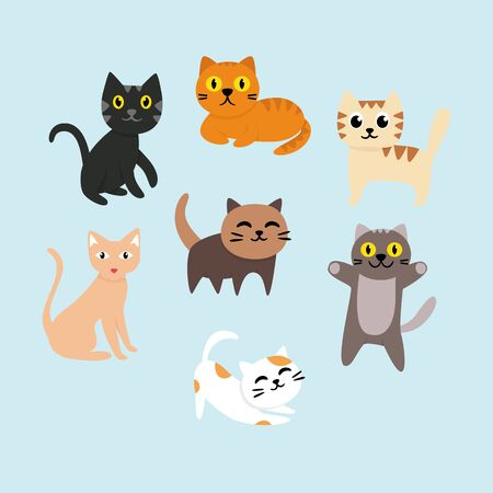 Set of cartoon cute cat vector illustration Ilustração