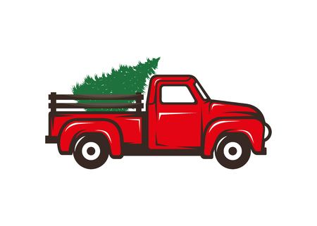 Red truck with christmas tree vector illustration isolated on white background