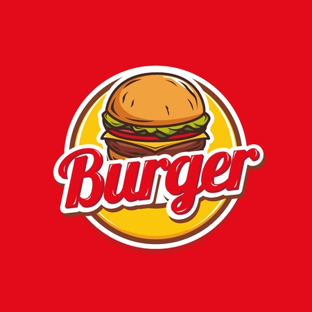 Burger logo template vector isolated on red background  イラスト・ベクター素材