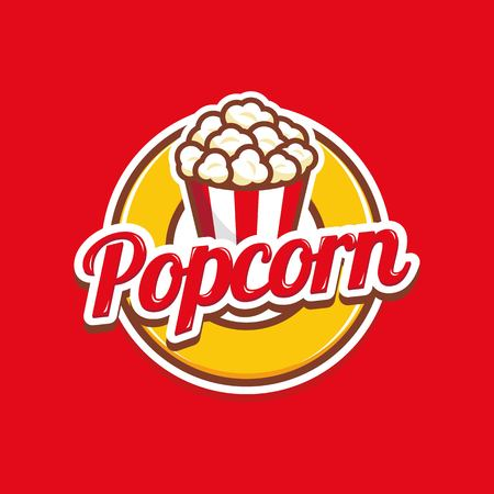 Popcorn logo template vector isolated on red background Stock Illustratie