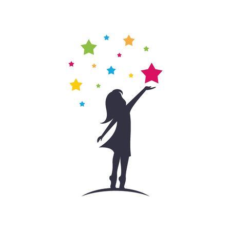 Klein meisje bereiken sterren sillhouette logo sjabloon vector geïsoleerd op een witte achtergrond Logo