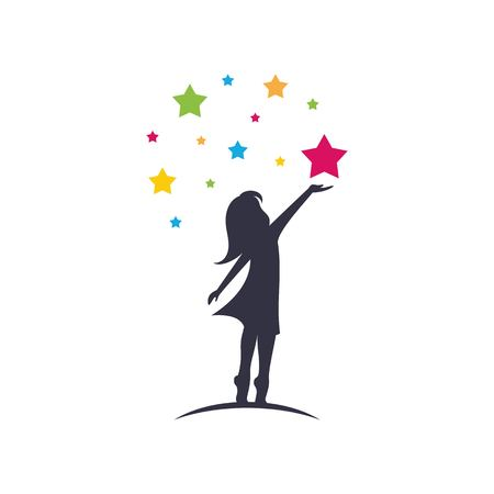 Little girl reach stars sillhouette logo template vector isolated on white background