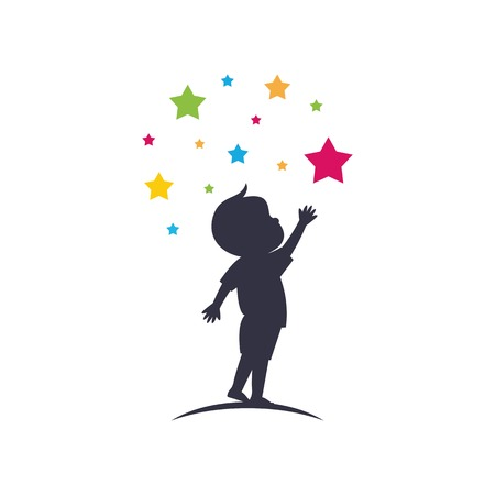 Kleiner Junge erreicht Sterne Sillhouette Logo Vorlage Vektor isoliert auf weißem Hintergrund