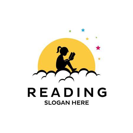 Reading book imaginative logo isolated on white background