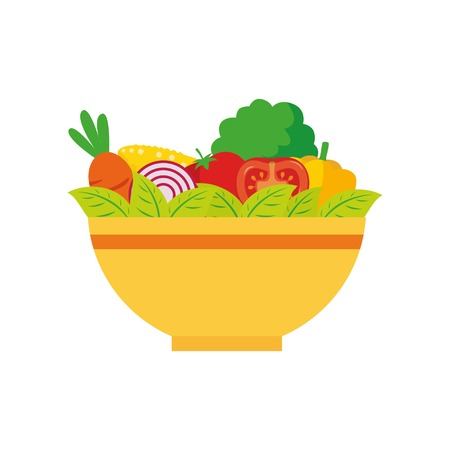 Fresh salad in the yellow bowl vector illustartion isolated on white background  イラスト・ベクター素材