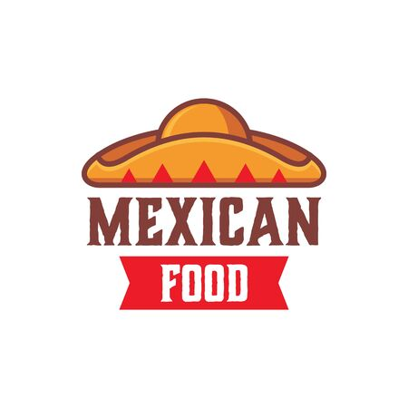 Mexican food logo with sombrero illustration Stock Illustratie