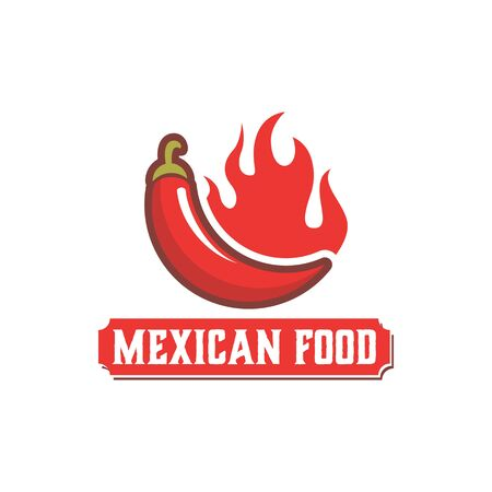 Mexican food logo with red chili illustration 写真素材 - 129164873