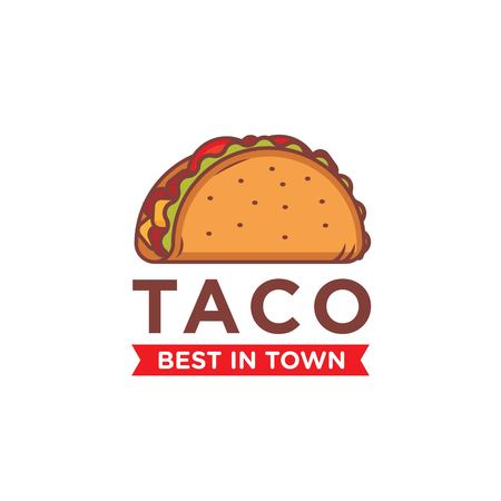 Tacos logo design isolated on white background Illustration