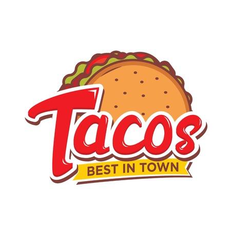 Tacos logo design isolated on white background