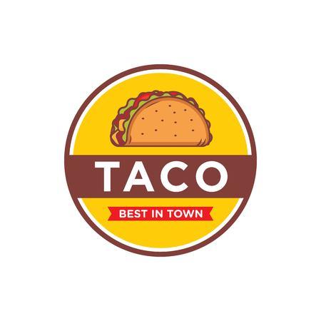 Tacos logo design isolated on white background  イラスト・ベクター素材