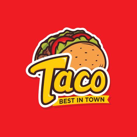 Tacos logo design isolated on red background