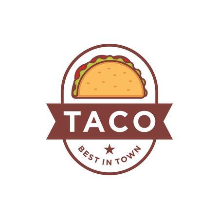 Tacos logo design isolated on white background Stock Illustratie