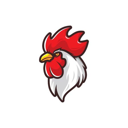Head of rooster vector illustration isolated on white background