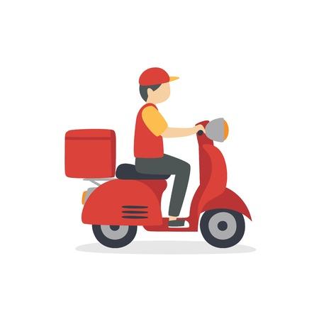 Food delivery man riding a red scooter vetor illustration Illustration