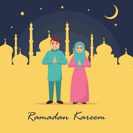 Eid mubarak family greeting vector illustration Ilustração