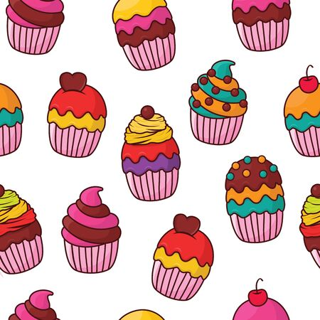 Cupcake pattern  on white