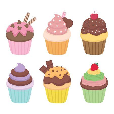 Cupcake vector set illustration