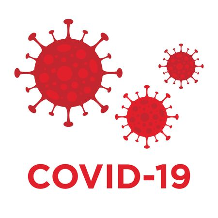 red virus covid coronavirus vector illustration isolated on white background