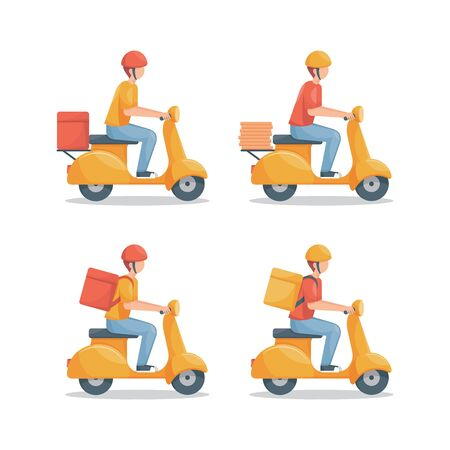 Delivery man with scooter vector set illustration