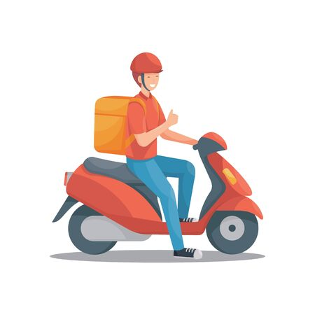 Delivery man with scooter vector set illustration Фото со стока - 149205327