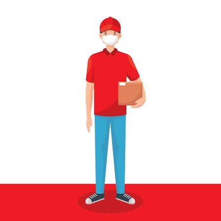Delivery man wearing medical mask and holding a package