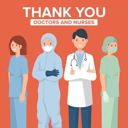 Thank you doctors and nurses vector illustration