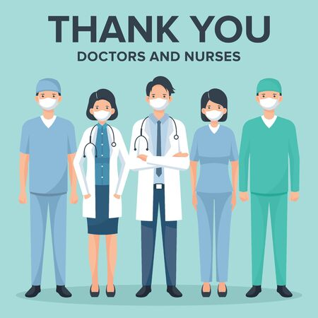 Merci médecins et infirmières illustration vectorielle