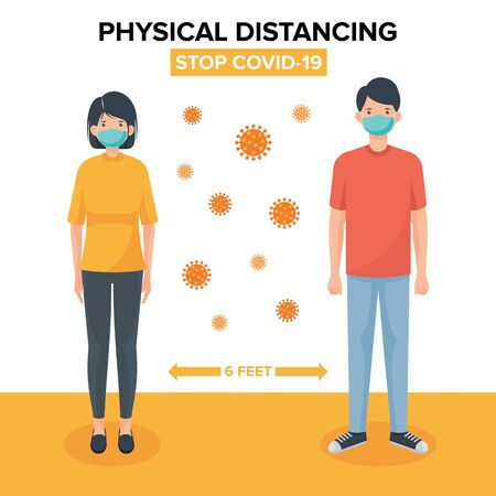Physical distancing vector illustration