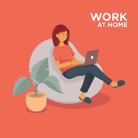 Telecommuting concept with woman working on laptop