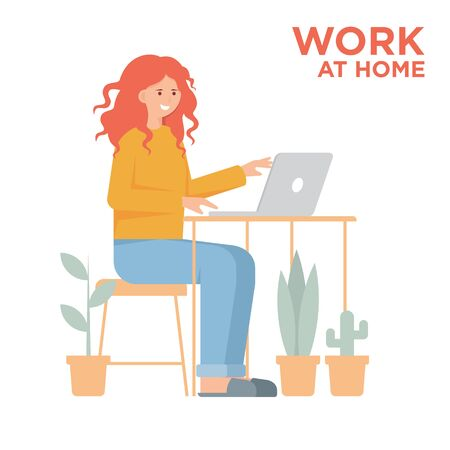 Telecommuting concept with woman working on laptop Фото со стока - 149205414