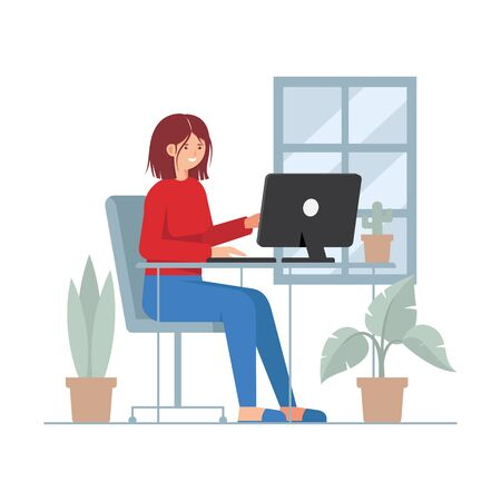 Telecommuting concept with woman working on PC Иллюстрация