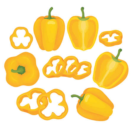 Yellow paprika vector set illustration with whole paprika and sliced paprika