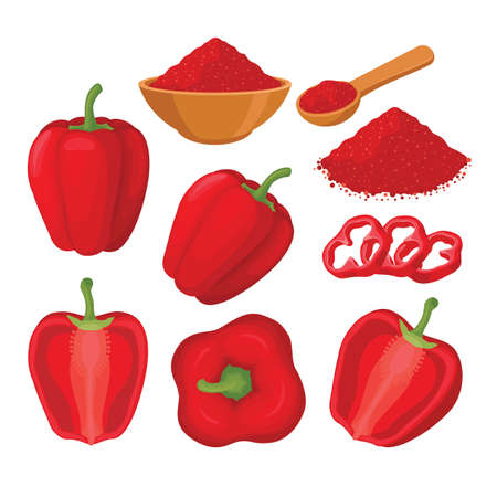 Red paprika vector set illustration with whole and sliced paprika Фото со стока - 153479798