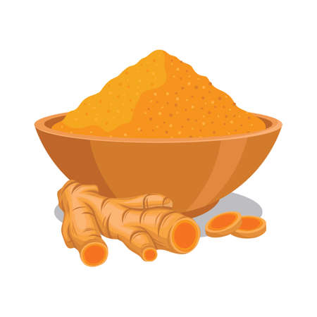 Turmeric powder in the bowl with turmeric illustration Иллюстрация