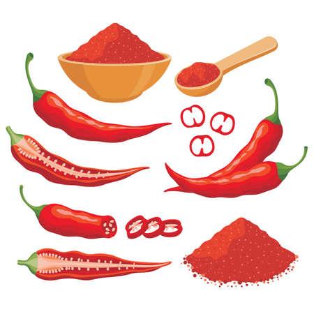 Red chili pepper vector set illustration with chili powder in the bowl, whole chili, ripe chili, sliced chili etc Иллюстрация