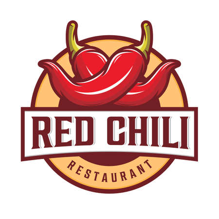 Red chili logo design with text and red chili pepper illustration