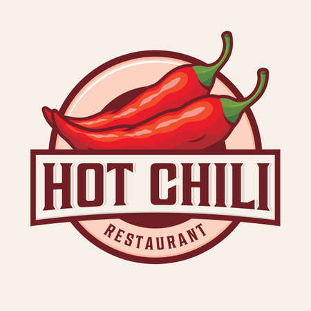 Hot chili logo design with text and chili illustration