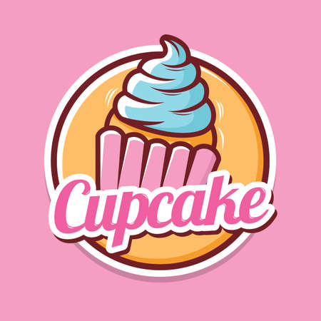 Cupcake logo design with illustration of cupcake with whipped cream