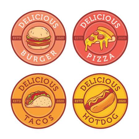 Fast food logo design with burger tacos hotdog and pizza Иллюстрация